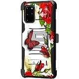 TurtleArmor | Kompatibel mit Samsung Galaxy S20+ Plus Hülle 6,7 | Samsung Galaxy S11 Hülle [Hyper Shock] Fitted Armor Holster Gürtelclip Hybrid Cover Stand Shock Schutzhülle - Butterfly Roses