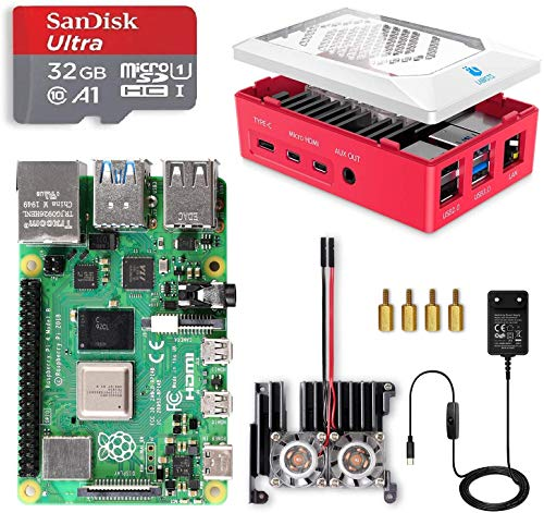 LABISTS Raspberry Pi 4 8GB RAM Starter Kit with 32GB Micro SD Card Preloaded Raspberry Pi OS (Raspbian), Red Case with GPIO Access, 2 Fans, Heatsink, Micro HDMI Cable x 2, 5.1V 3A USB-C Power Supply