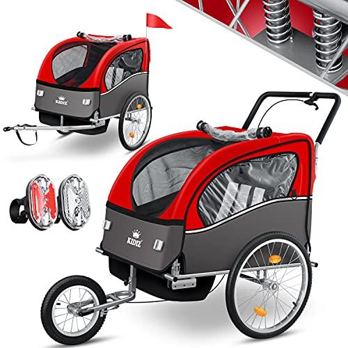 KIDIZ® 3in1 Fahrradanhänger Jogger Kinderanhänger Joggerfunktion Kinderfahrradanhänger für 1 bis 2 Kinder 5-Punkt Sicherheitsgurt inkl. Fahne und LED-Lichtern max. 70kg Fahrrad Anhänger, Rot
