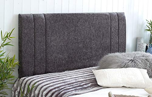 Cabecero de cama de diván Rio acolchado de tela de chenilla con puntales y pernos suministrados, tela, gris oscuro, King Size 5 FEET, Height 20 INCHES