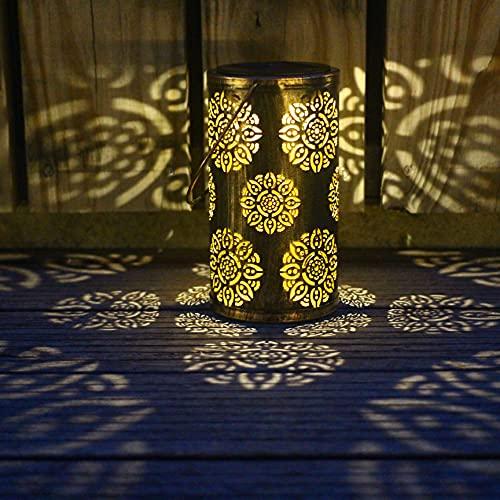 YiweiLux Outdoor Solar Lantern Metal Hanging Light Waterproof Garden Decorations for Patio Table Corridor Party Bronze Decor One Pack