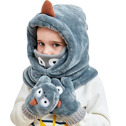 Sombrero de invierno para niños y niñas, pasamontañas de forro polar capucha ajustable a prueba de viento cuello térmico Snood
