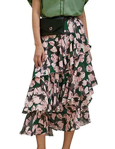 Elf zak dames midirok met bloemenpatroon traprok volant chiffon ruches rok bloemen dieren maxi skirt