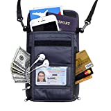 RFID Blocking Passport Holder Wallet with Neck Stash Pouch for Traveling Security Credit ID Card