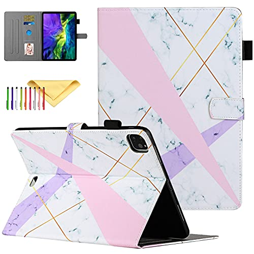 Uliking iPad Air 4 10.9 2020 Case, iPad Pro 11 2020/2018 Case - Slim Folio Stand Smart Protective Cover with Pencil Holder, with Auto Sleep Wake Feature, Pink Purple Marble