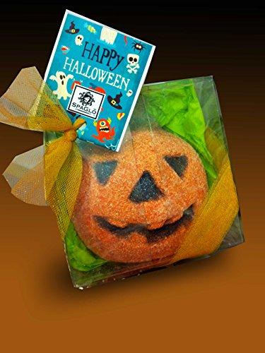 SpaGlo Halloween Pumpkin Bath Bomb Gift - Jumbo 8 oz Size - Autumn Scented with Spiced Apple & Pumpkin with Cinnamon, Bayberry and Cedar- Makes a Great Treat For Teachers