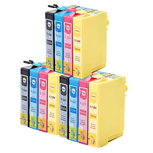 Caidi - Cartuchos de tinta compatibles con Epson T1281 T1282 T1283 T1284 para Epson Stylus SX235W SX445W SX425W SX130 SX230 SX420W SX125 (3negro, 3cian, 3magenta y amarillo)