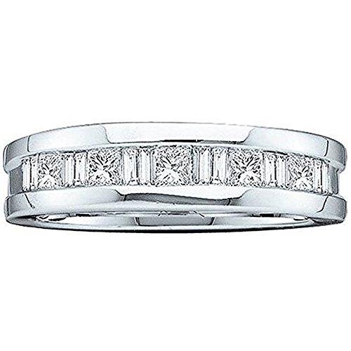 Dazzlingrock Collection Anillo de boda invisible para hombre de oro de 14 quilates con diamante de corte princesa de 0,90 quilates