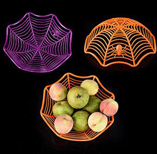 Set of 3 Halloween Thanksgiving Decorative Spider Web Candy Biscuit Snack Fruit Plate Multifunctional Basket For Kindergarten Home Dining Room Bars Halloween Props Party Supplies Gift