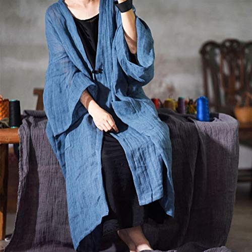 Płaszcz Wiosenne kobiety Vintage Solid Color Długie płaszcze Trench Nowy Przyczynowy Loose Patchwork Z Długim Rękawem Cardigan Płaszcze Tluhepa (Color : B, Size : One Size)