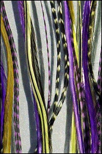 Grizzly Lot de 5 extensions en plumes extensions naturel + Lilas pour cheveux blonds
