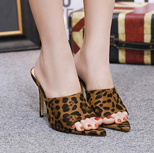 xiangqian Dames Sandalen Bohemia Wiggen Elastische T Flat Sandalen Walking Schoenen Non-slipPointed luipaardprint hoge hak stiletto vrouwen slippers