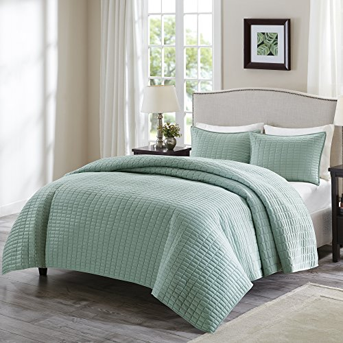 "Comfort Spaces Kienna Quilt Set-Luxury Double Sided Stitching Design All Season, Lightweight, Coverlet Bedspread Bedding, Matching Shams, King/Cal King(104""x90""), Seafoam"