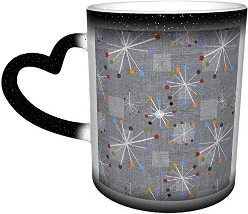 Mid Century Modern Stars Relojes Gris Taza que cambia de color sensible al calor en el cielo Tazas de café Taza de cerámica Regalos personalizados para amantes de la familia Amigos