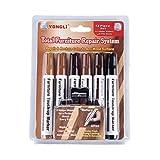Lunji Filzstift für Möbel aus Holz, Wachsstäbe, Reparatur-Set für Farbe, Kratzer, Holzböden, Tische, Schreinerarbeiten (6 Farben)