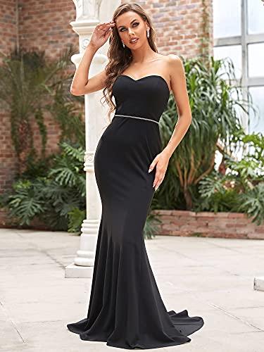 Ever-Pretty Vestido de Fiesta para Novia sin Tirantes Largo para Mujer Sirena Elástico Corte Imperio Vestido de Boda Negro 38