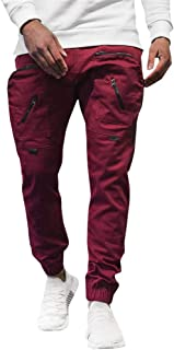 waitFOR Men Winter Fashion Long Trousers with Multi Pockets Zippers Sports Trousers Solid Colour Beam Feet Tracksuit Botto...
