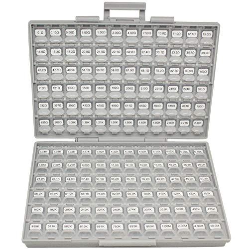 AideTek SMT SMD 0201 Size 144 Values 100pc / Value Resistance Set 1% in Assortment Box-All Enclosure 14400pcs Assorted resistors kit