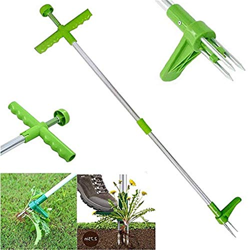 """SNOITUAC Standing Plant Root Remover,Weed Puller Tool Garden Stand Up Weeder with Claws for Dandelion, Steel Twist Hand Weed Root Pulling Tool and Grabber, Picker with 39"""" Long Handle"""