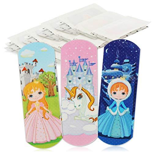 com-four® 40x Kinderpflaster wasserabweisend - Bunte Pflaster-Strips für Kinder - Pflaster-Set mit Prinzessin- und Einhorn-Motiven - klinisch getestet