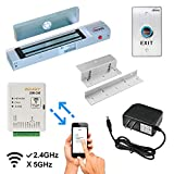 Zemgo FPC-8423 Smart Mobile WiFi Controller for Access Control with Android + Apple App, Web Browser + Smartphone Remote Viewing, Inswinging Door 300lbs Electromagnetic Lock, Exit Button + Power
