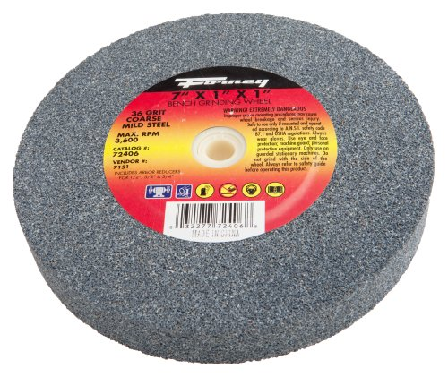Forney 72407 Bench Grinding Wheel, Vitrified with 1-Inch Arbor, 60-Grit, 7-Inch-by-1-Inch