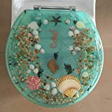 Heavy Duty Comfort Seahorse Seashells Round Toilet Seats with Cover Acrylic Seats.(Seahorse Green'17 Inch)