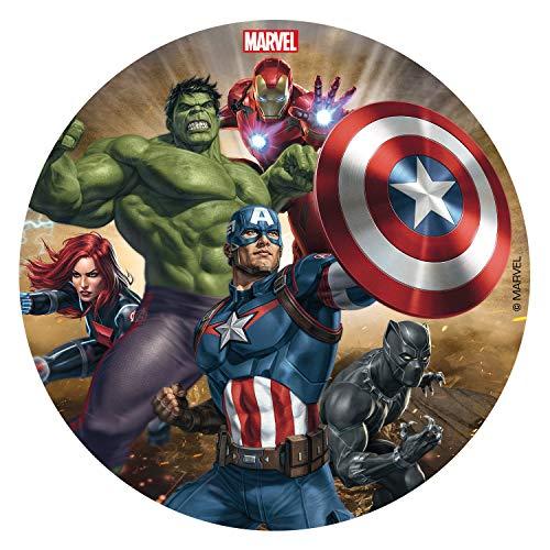 Dekora - Disco Comestible para Decoración de Tartas de Cumpleaños The Avengers - 16 cm