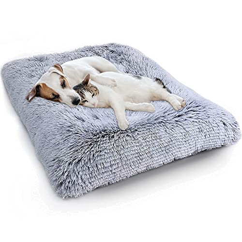 """WAYIMPRESS Large Dog Crate Bed Crate Pad Mat for Medium Small Dogs&Cats,Fulffy Faux Fur Kennel Pad Comfy Self Warming Non-Slip Dog Beds for Sleeping and Anti Anxiety (36""""x23.5""""x4, Grey)"""