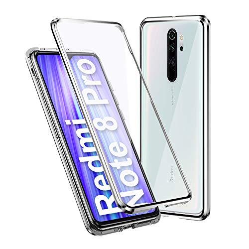 Ellmi Funda para Xiaomi Redmi Note 8 Pro, Adsorción Magnética Parachoques de Metal con 360 Grados Protección Case Cover Transparente Ambos Lados Vidrio Templado Cubierta, Plata
