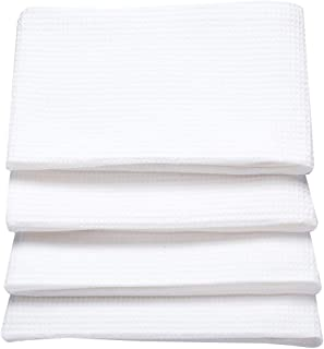 Li&Mi Kitchen Towels Pure 100% Cotton. (4 Pack, 14X28 Inch) Tolwes Waffle. White. Highly Absorbent. Soft Yet Sturdy.