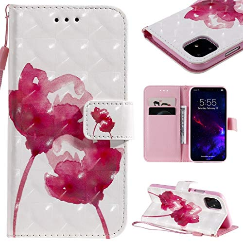 MOLIBAIHUO For IPhone 11 Case, 3D Painted Pattern Horizontal Flip Leather Case for IPhone 11, With Wallet & Holder & Card Slots & Lanyard PHONE CASE (Pattern : Red rose)