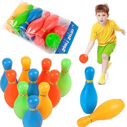 MZY1188 Juego de Bolos para niños, Bolos de 10 Pines Juego de Bolos de 2 Bolas Juego de Bolos para niños al Aire Libre en Interiores