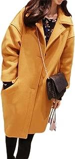 neveraway Women Oversized Casual Woolen Knee Length Wrap Coat Parka Outwear