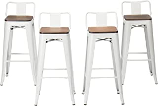 HAOBO Home Modern Industrial Metal Stool [Set of 4] for Indoor/Outdoor Dining Chair (30