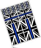 Biomar Labs® 10 x PVC Adesivi Set Stickers Bandiera Nazionale del Regno Unito Union Jack UK Thin Blue Line Per Auto Moto Finestrìno Porta Casco Scooter Skateboard Bici PC Laptop Tablet Tuning D 40