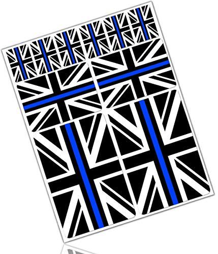 Biomar Labs 10 x PVC Adesivi Set Stickers Bandiera Nazionale del Regno Unito Union Jack UK Thin Blue Line per Auto Moto Finestrìno Porta Casco Scooter Skateboard Bici PC Laptop Tablet Tuning D 40