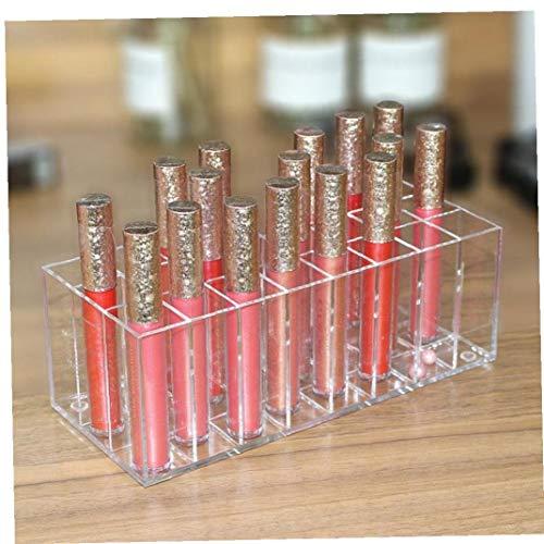 24 Spaces Gloss à lèvres Rouge à lèvres acrylique Support maquillage Valise de rangement pour les femmes Organisateur Effacer