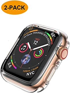 FOOKANN Full Coverage Screen Protector Case/Cover for Apple Watch 40mm, Ultra Soft and Clear Protective Cover for iWatch Series 4 [Clear (2 Pack)]
