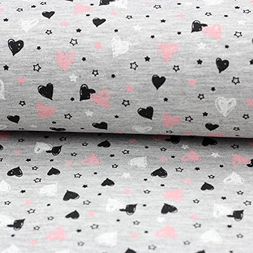 Brittschens Stoffe und Zutaten Stoff Jersey Baumwolljersey Sweetheart Grey Melange Kinderstoff je 50cm
