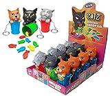 WOM Catz, Llaveros con Forma de Gato Subido a un Cubo de Basura que Contiene dentro Caramelos en Forma de Pez, Display con 12 Llaveros y 3 Modelos de Llavero Diferentes