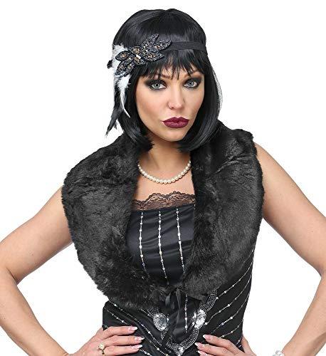 shoperama Charleston - Juego de charlestola y cinta para el pelo, charlestola de pelo de los años 20, accesorio para disfraz, color negro