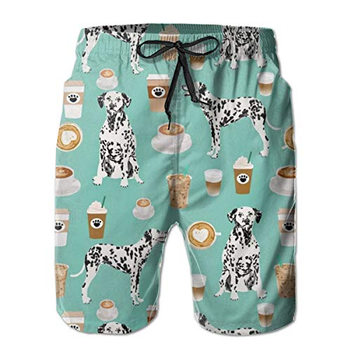 Men & Boys Dalmatians Cute Mint Coffee Best Dalmatian Dog Swim Trunks Swimwear for Beach Gym Workout - Classic-Fit Quick Dry Loose Adjustable Drawstring Half Pants Big & Tall Cargo Short
