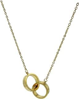 1.4cm Double Love Loop 18k Gold Women's Pendant Necklace