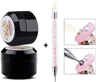 Nail Art 8ml Rhinestone UV Glue Gel Adhesive + Wax Tip Pickup Pen Tools for Gem Stones Jewelry Diamond Beads (UV/LED Lamp Cure Needed) + UV/LED Glue Brush Tools/3pcs by GADGETS ENTREPOT