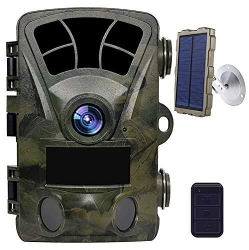 YTLJJ WLAN Wildkamera 16MP 1080P WiFi Jagdkamera Wildtierkamera Fotofalle mit Bewegungsmelder Nachtsicht 120 ° Weitwinkel IP56 Wasserdicht Überwachungskamera mit 2.4' LCD Display und Solarpanel-Set
