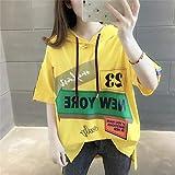 Avsvcb Nueva Camiseta de Estilo hyuna de Manga Corta para Mujer con Capucha de Talla Grande Suelta Estilo Coreano Tops de Moda Ropa de Verano