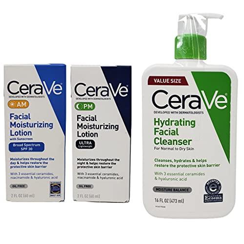 CeraVe Daily Skincare Facial Bundle - Hydrating Facial Cleanser (16 oz), AM Facial Moisturizing Lotion with Sunscreen (2 oz), and PM Facial Moisturizing Lotion (2 oz)