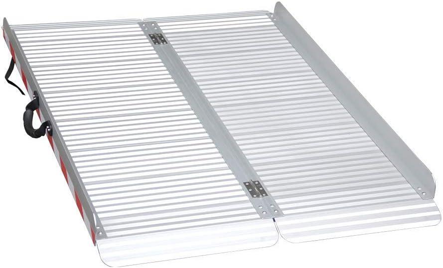 LIEKUMM Rampa de aluminio plegable para escaleras, umbral de puerta, etc., superficie antideslizante, capacidad de carga 400 kg (MR607X-4) (120 x 85 x 7 cm)