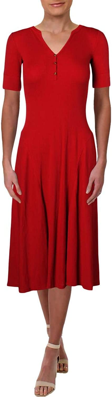 Lauren Ralph Lauren Womens Waffle Knit Casual Midi Dress
